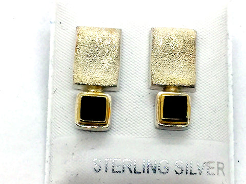 MICHOU Design - Solid Sterling Silver Gold Vermeil Genuine Black Onyx Post Earrings