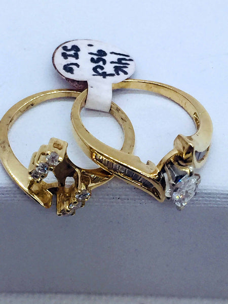 Vintage 14k Solid Gold Diamond Marquise Cut Wedding Set Ring