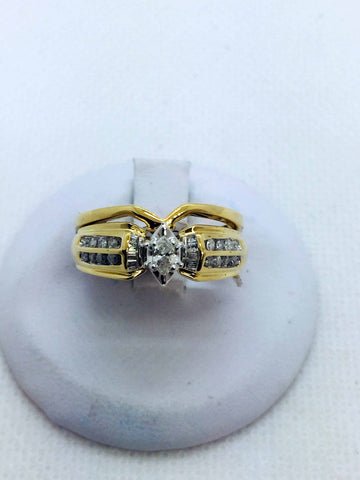 14k Solid Gold Diamond Marquis  Wedding Set Ring