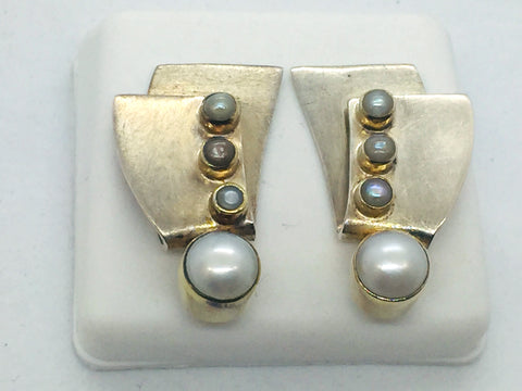 MICHOU Design - Solid Sterling Silver With 22k. Gold Vermeil & Pearls Post Earrings