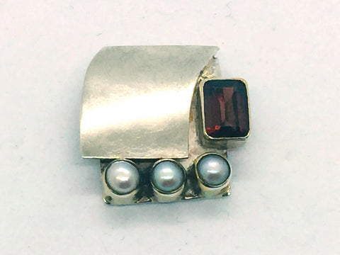 MICHOU Design - Solid Sterling Silver With Genuine Garnet & Pearl Slide Pendant