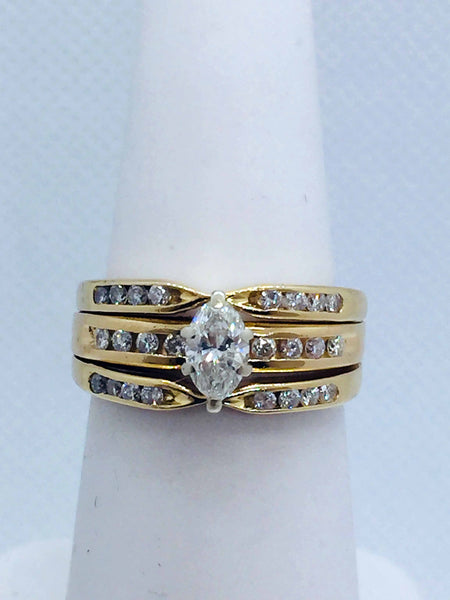 Vintage 14k Solid Gold Diamond Marquise  Wedding Set Ring