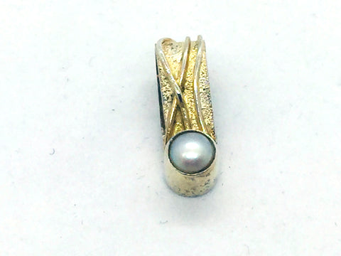 MICHOU Design - Solid Sterling Silver With 22k. Gold Vermeil, Pearl Slide Pendant