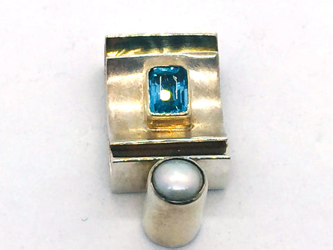 MICHOU Design - Solid Sterling Silver With 22k. Gold Vermeil, Blue Topaz & Pearl Slide Pendant