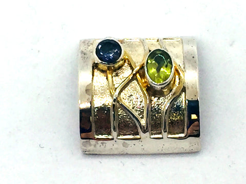 MICHOU Design - Solid Sterling Silver With 22k. Gold Vermeil, Iolite & Peridot Slide Pendant