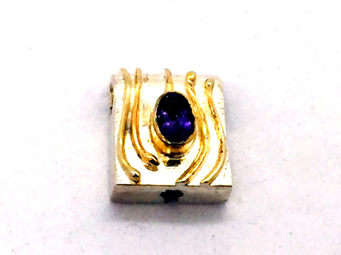 MICHOU Design - Solid Sterling Silver With 22k. Gold Vermeil, Amethyst Slide Pendant