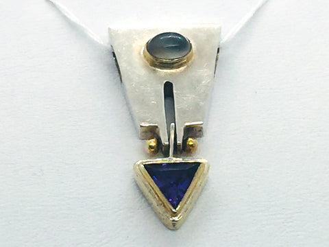 MICHOU Design - Solid Sterling Silver With 22k. Gold Vermeil, Amethyst & Moonstone Slide Pendant