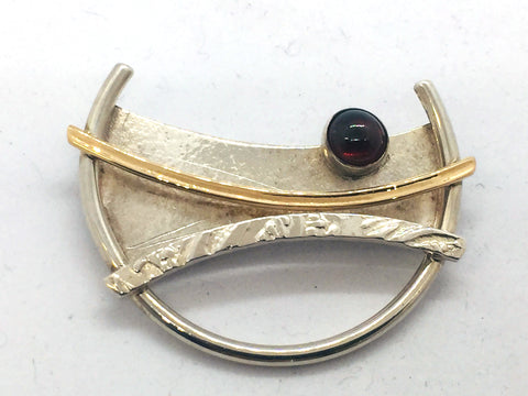 MICHOU Design - Solid Sterling Silver With Genuine Garnet Brooch