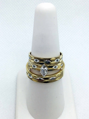 10k Solid Gold Diamond Trio Wedding Rings Set