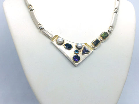 MICHOU Design - Solid Sterling Silver with 22k. Gold Vermeil & Multi Stone Necklace