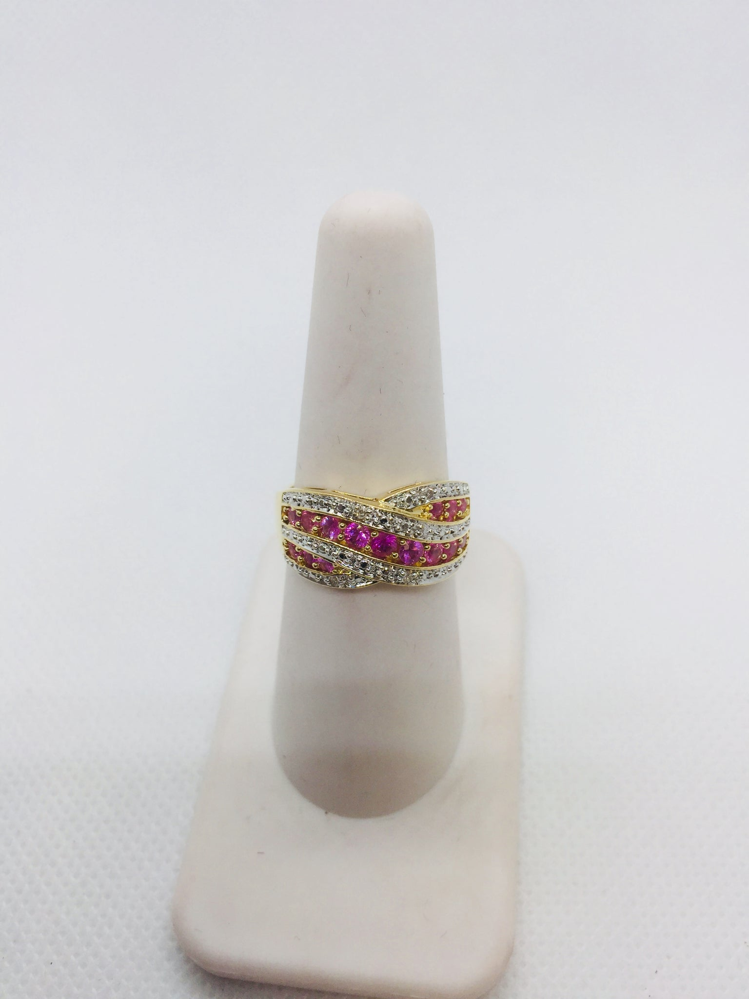 14k Solid Gold Genuine Pink Sapphire & Diamond Ring