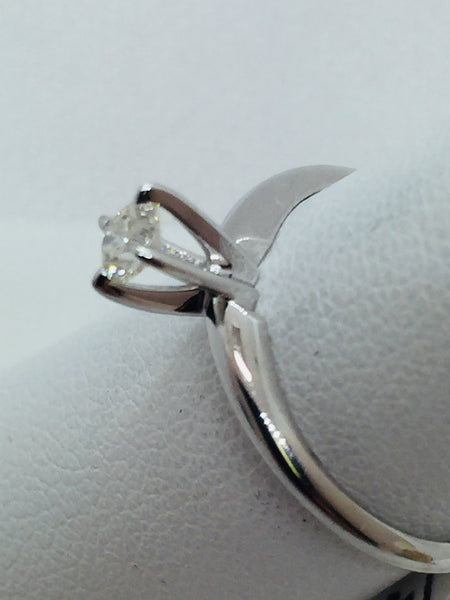 14k Solid White Gold Diamond Engagement Ring