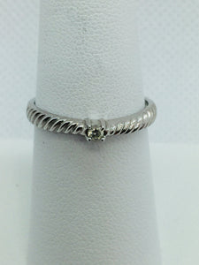10k Solid White Gold Diamond Solitare Engagement Ring