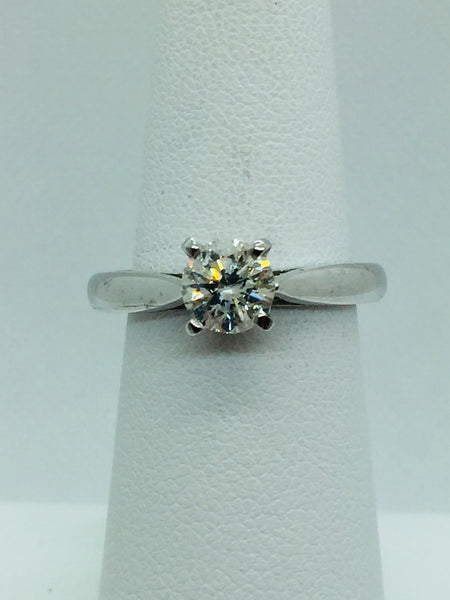 14k Solid White Gold Diamond Solitare Engagement Ring