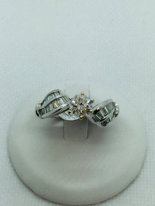 18K Solid White Gold Genuine Diamond Engagement Ring