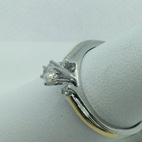 10k Solid White Gold Diamond Engagement Wedding Trio Ring Set