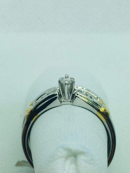 14k Solid Two Tone Gold Diamond Engagement Trio Wedding Ring Set