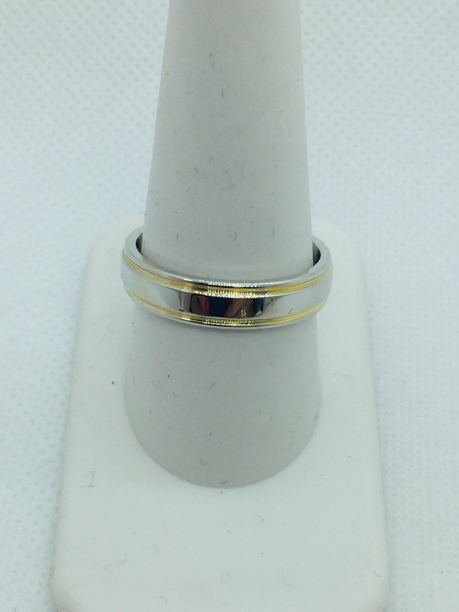 14k Solid Two Tone Gold Men's Wedding Band Ring