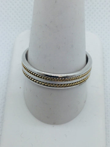 14k Solid Two Tone Gold Handmade Men's Wedding Band Ring