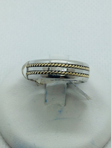 14k Solid Two Tone Gold Handmade Wedding Band Ring