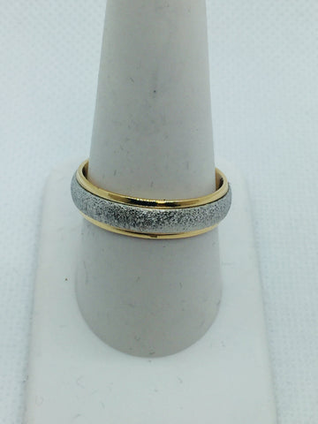 14k Solid Two Tone Gold Men's Comfort Fit Wedding Band Ring