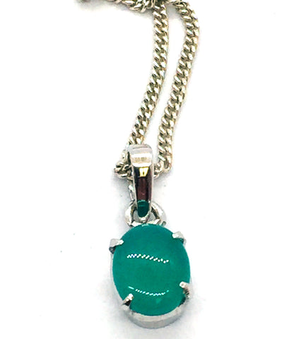 Solid 925 Sterling Silver Genuine Green Agate Pendant & Chain