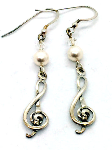 Solid Sterling Silver Faux Pearl Earrings With Musical Clef Charm