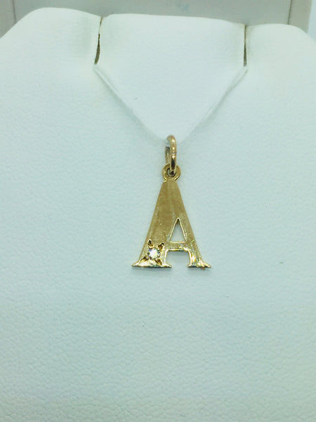 14k Solid Gold Diamond A Pendant