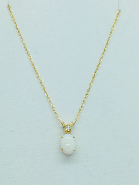 10k Solid Gold Opal & Diamond Pendant & Chain