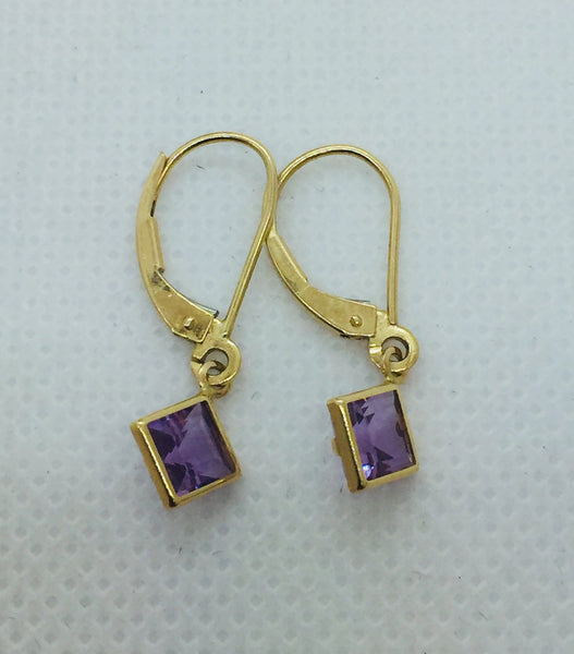 14K Solid Yellow Gold Genuine Amethyst Leverback Earrings