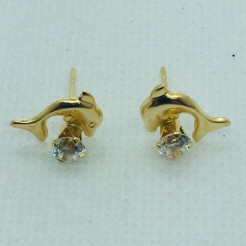 14k Solid Gold Cubic Zirconia Dolphin Post Earrings