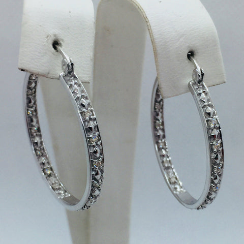 14k Solid White Gold Diamond Hoop Earrings