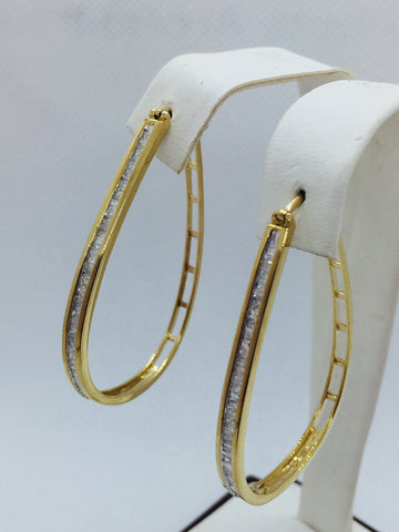 10k Solid Gold Diamond Hoop Earrings