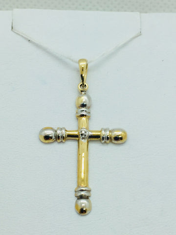 10k Solid Gold Two-Tone Cross Pendant with Diamond