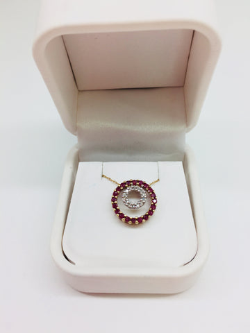 10k Solid Gold Ruby & Diamonds Circle of Life Pendant & Chain