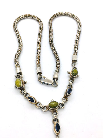 SARDA Designs - Sterling Silver Green Turquoise & Iolite Necklace