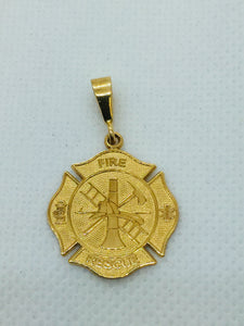 14k Solid Gold Fire Dept. Rescue Charm / Pendant