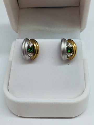 14k Solid Gold Two Tone Cubic Zirconia Emerald Stud Earrings