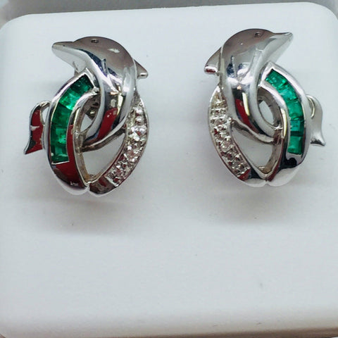 14k Solid White Gold Dolphin Post Earrings With Emeralds and Diamonds
