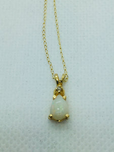 14k Solid Gold Genuine Opal Pendant With Diamond and Chain