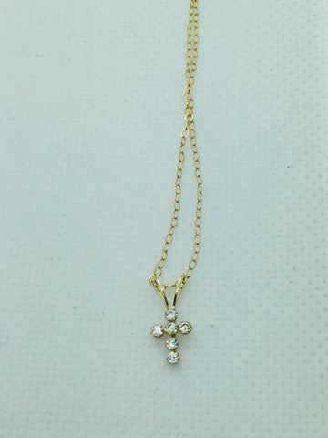 14k Solid Gold Cross With Cubic Zirconia