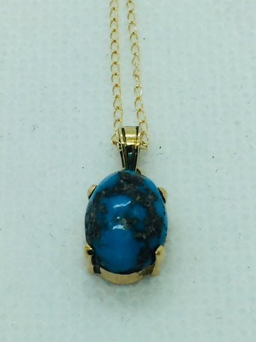 14k Solid Gold Persian Turquoise With Chain