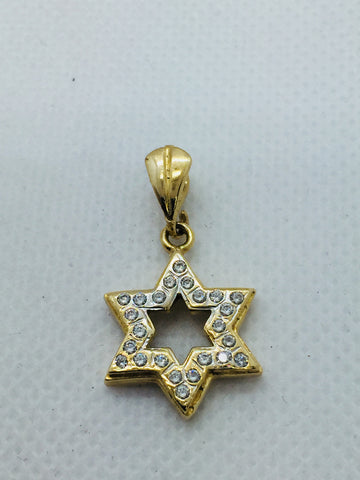 Vintage 14k Solid Gold Star of David Pendant With Cubic Zirconia