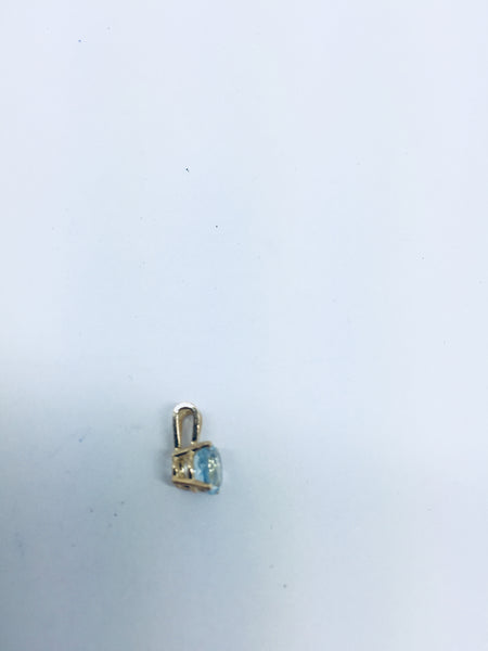 14k Solid Gold Genuine Aquamarine Pendant