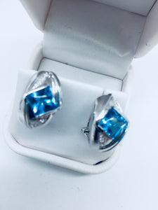14K Solid White Gold Genuine Blue Topaz & Diamond Omega Back Earrings
