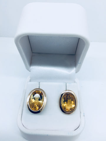 14k Solid Gold Genuine Citrine Post Earrings