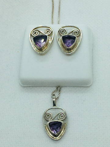 Solid Sterling Silver Genuine Amethyst Earrings & Pendant Set