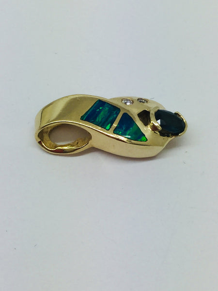 14k Solid Gold Lab Created Opal, Diamond & Sapphire Pendant