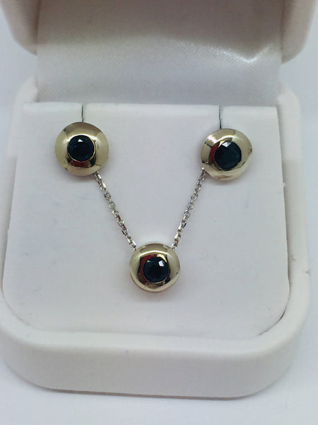 14k Solid White Gold Genuine Sapphire Stud Earrings, Pendant & Chain Bezel Set