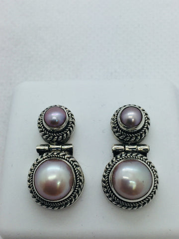 Solid Sterling Genuine Freshwater Pearl Earrings